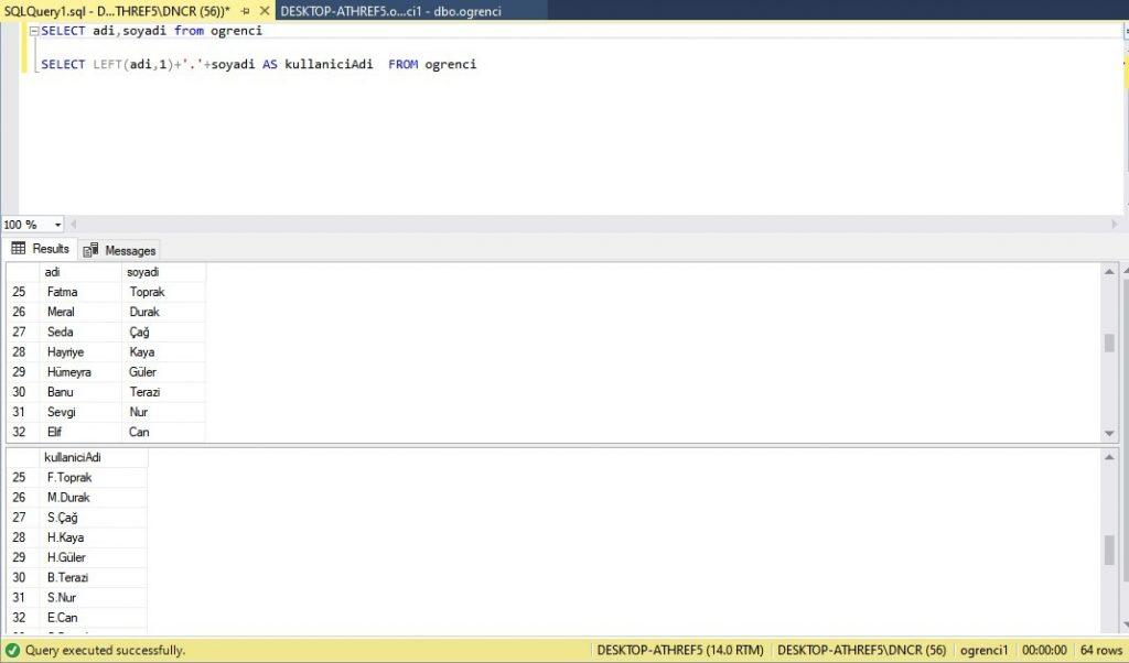 LEFT kullanım örneği ekran çıktısı