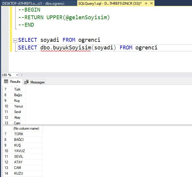 Veritabanı sql fonksiyon kullanma örneği ekran görüntüsü