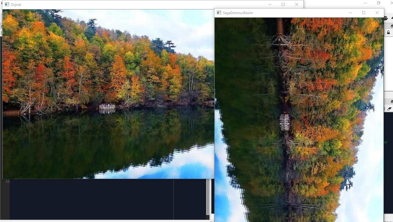 görüntüyü sağa döndürme görüntü işleme python